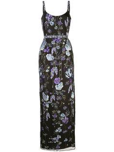 Marchesa Notte вечернее платье макси с цветочной вышивкой