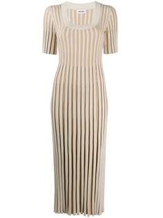Kenzo платье в рубчик с U-образным вырезом