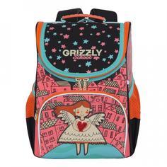 Ранец школьный Grizzly розовый-черный