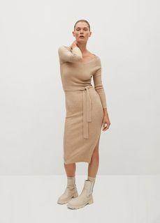 Трикотажное платье в резинку - Goleta Mango