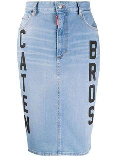 Dsquared2 джинсовая юбка с надписью
