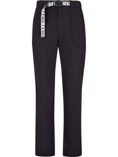 Fendi брюки с поясом и логотипом