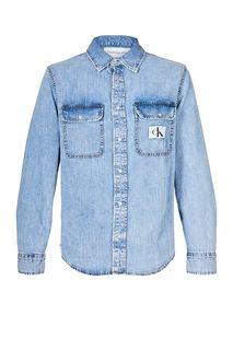 Синяя джинсовая рубашка с длинными рукавами Calvin Klein Jeans