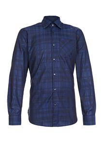 Хлопковая рубашка в клетку с карманом Trussardi Jeans