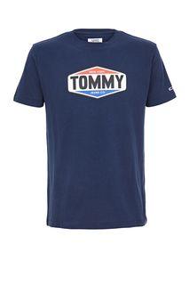 Синяя футболка из хлопка с принтом Tommy Jeans