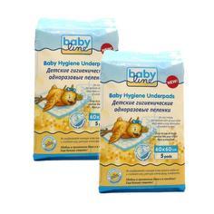 Детские гигиенические одноразовые пеленки Babyline с гелевым абсорбентом 60x60, 2x5 шт.