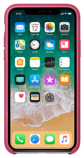 Чехол Apple Leather Case Pink Fuchsia для iPhone X
