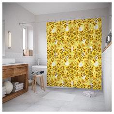 Штора (занавеска) для ванной «Комбинация подсолнухов» 180x200 см JoyArty sc_9862