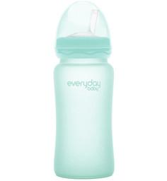 Стеклянная бутылочка-поильник с трубочкой с защитным силиконовым покрытием, 240 мл Everyday Baby
