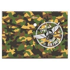 """Папка-конверт на кнопке """"Military"""", 180 мкм, А5+ №1 School"""