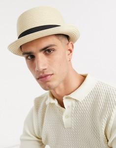 Бежевая шляпа с лентой ASOS DESIGN-Бежевый