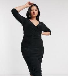 Черное платье миди с длинными рукавами и запахом Club L London Plus-Черный