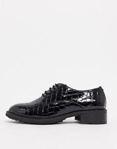 Черные кожаные броги с крокодиловым рисунком Dune-Черный