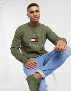 Свитшот цвета хаки с вышитым логотипом-флагомTommy Hilfiger-Зеленый