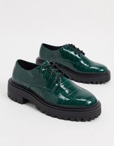 Зеленые туфли на плоской массивной подошве со шнуровкойASOS DESIGN-Зеленый