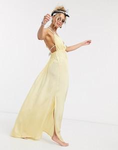 Золотистое пляжное платье макси с V-образным вырезом ASOS DESIGN-Желтый