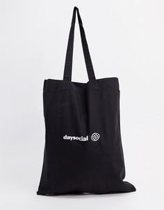 Черная сумка-тоут из органического хлопка ASOS Day Social-Черный