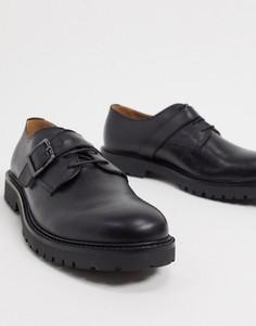Черные кожаные туфли H by Hudson-Черный
