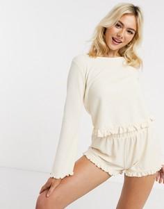 Кремовая фактурная пижама с лонгсливом и шортами ASOS DESIGN-Кремовый