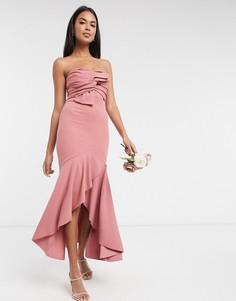 Розовое платье с годе и бантомLittle Mistressbridesmaid-Розовый