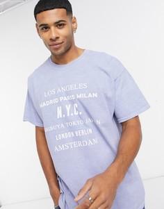 Синяя футболка с принтом New Look-Синий