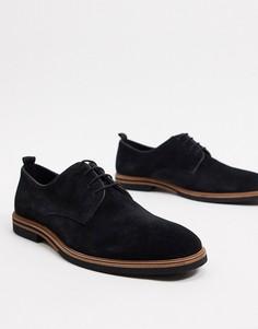 Черные замшевые туфли на шнуровке с контрастной подошвой ASOS DESIGN-Черный