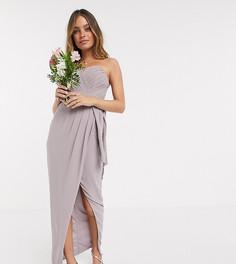 Эксклюзивное серое платье-бандо мидакси с плиссировкой TFNC Petite bridesmaid-Серый