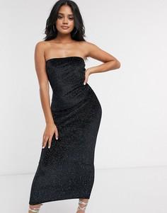Черное бархатное платье мидакси с отделкой Missguided-Черный