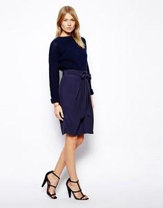 Запашная юбка-карандаш ASOS-Темно-синий