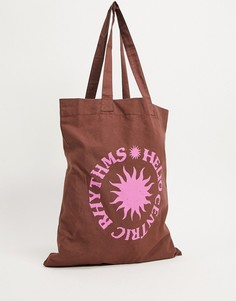 Коричневая сумка-тоут с розовым принтом ASOS DESIGN-Коричневый