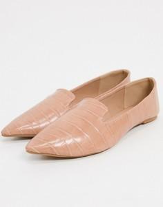 Бежевые туфли на плоской подошве с эффектом крокодиловой кожиQupid-Бежевый