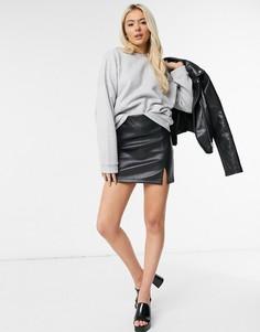 Черная мини-юбка из искусственной кожи Miss Selfridge-Черный