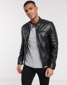 Кожаная куртка со стеганой отделкой Barneys Originals-Черный