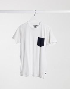 Белая футболка с карманом в клеткуFrench Connection-Белый