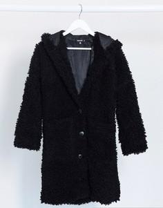 Черное пальтоиз искусственного меха с капюшоном Missguided-Черный