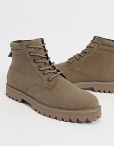 Ботинки на шнуровке из искусственной замши ASOS DESIGN-Светло-бежевый