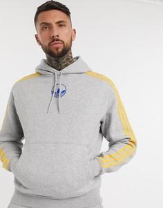 Худи серого цвета с логотипом-трилистником adidas Originals-Серый