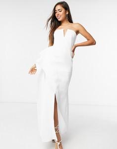 Белое платье макси с лифом бандо ASOS DESIGN Premium-Белый