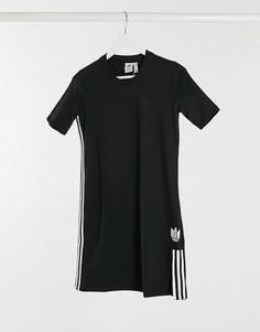 Черное платье-рубашка с объемным логотипом-трилистником adidas Originals-Черный