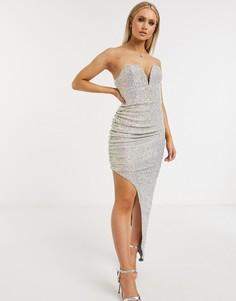 Платье бандо кремового цвета с глубоким вырезом и пайетками Club L London-Кремовый