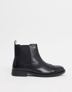 Черные кожаные ботинки челси Dune-Черный