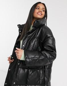 Черное длинное стеганое пальтоASOS DESIGN-Черный