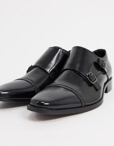 Черные блестящие кожаные туфли на шнуровке Dune-Черный