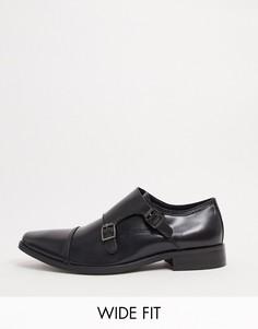 Черные кожаные туфли на шнуровке для широкой стопы Dune-Черный