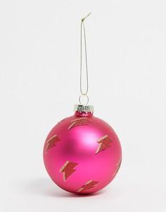 Новогоднее елочное украшение розового цвета с блестками и принтом молнии Sass & Belle-Розовый