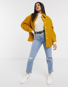 Плюшевая куртка горчичного цвета с карманами Pieces-Желтый