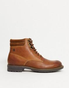 Светло-коричневые кожаные ботинки на шнуровке Base London-Светло-коричневый