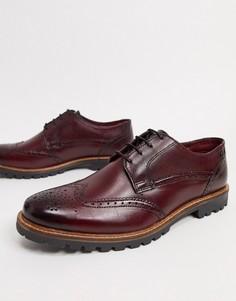 Кожаные бордовые туфли на шнуровке Base London-Красный