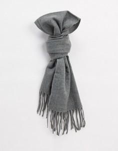Серый шерстяной шарф с кисточками Only & Sons