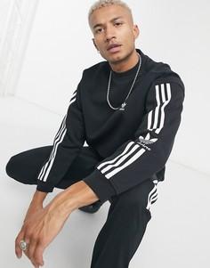 Черный свитшот с 3 фирменными полосками adidas Originals